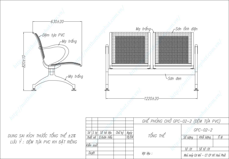 Bản vẽ kỹ thuật ghế phòng chờ 2 chỗ ngồi GPC02-2