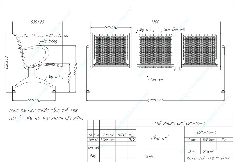 Bản vẽ kỹ thuật ghế phòng chờ 3 chỗ ngồi GPC02-3