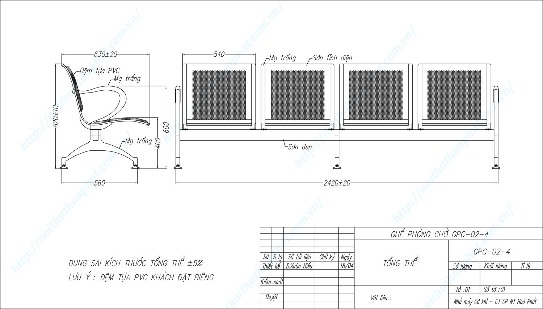 Bản vẽ kỹ thuật ghế phòng chờ 4 chỗ ngồi GPC02-4