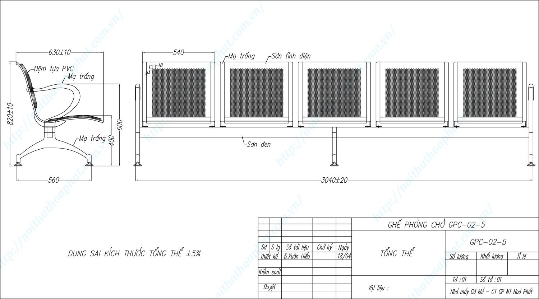 Bản vẽ kỹ thuật ghế phòng chờ 5 chỗ ngồi GPC02-5