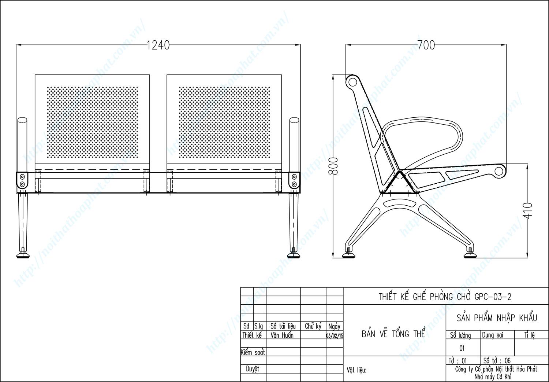Bản vẽ kỹ thuật ghế phòng chờ 2 chỗ ngồi GPC03-2