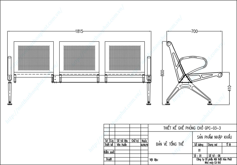 Bản vẽ kỹ thuật ghế phòng chờ 3 chỗ ngồi GPC03-3