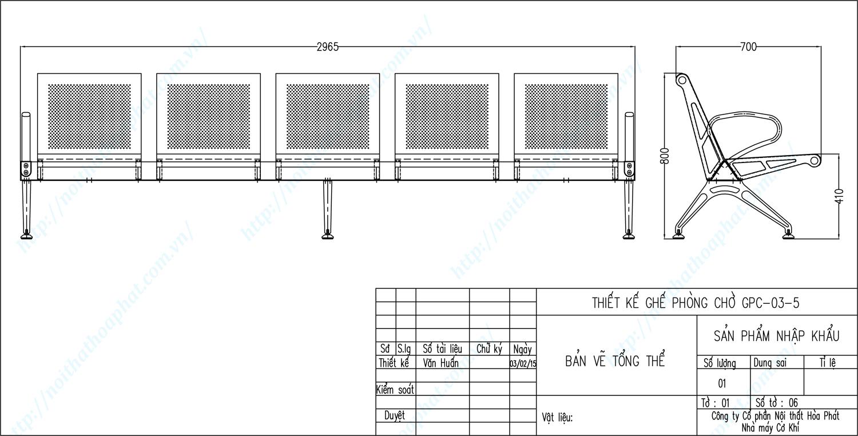 Bản vẽ kỹ thuật ghế phòng chờ 5 chỗ ngồi GPC03-5