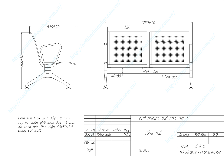 Bản vẽ kỹ thuật ghế phòng chờ inox 2 chỗ GPC04I-2