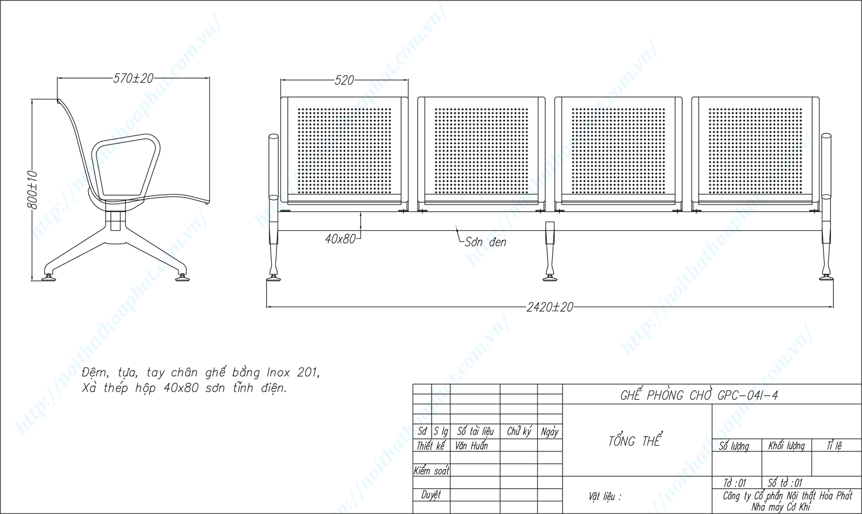 Bản vẽ kỹ thuật ghế phòng chờ inox 4 chỗ GPC04I-4