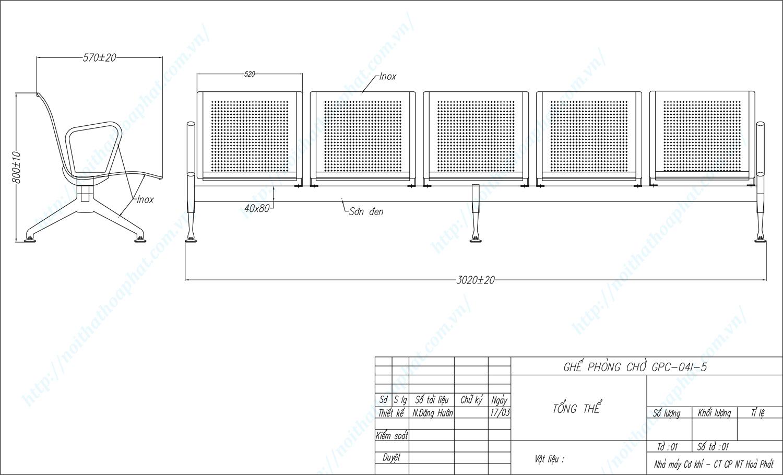 Bản vẽ kỹ thuật ghế phòng chờ inox 5 chỗ GPC04I-5