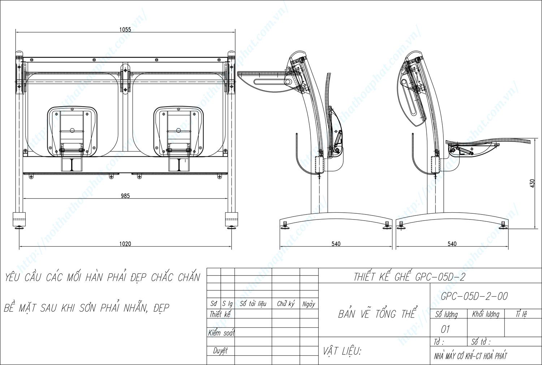 Bản vẽ kỹ thuật ghế phòng chờ GPC05D-2