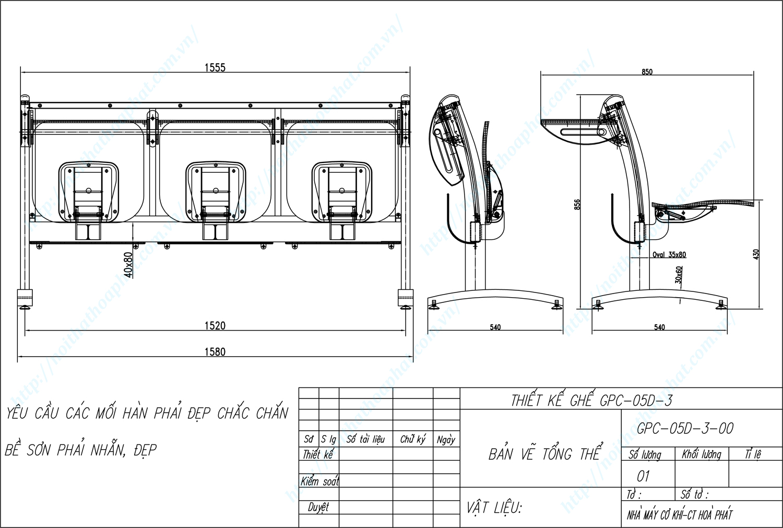 Bản vẽ kỹ thuật ghế phòng chờ GPC05D-3