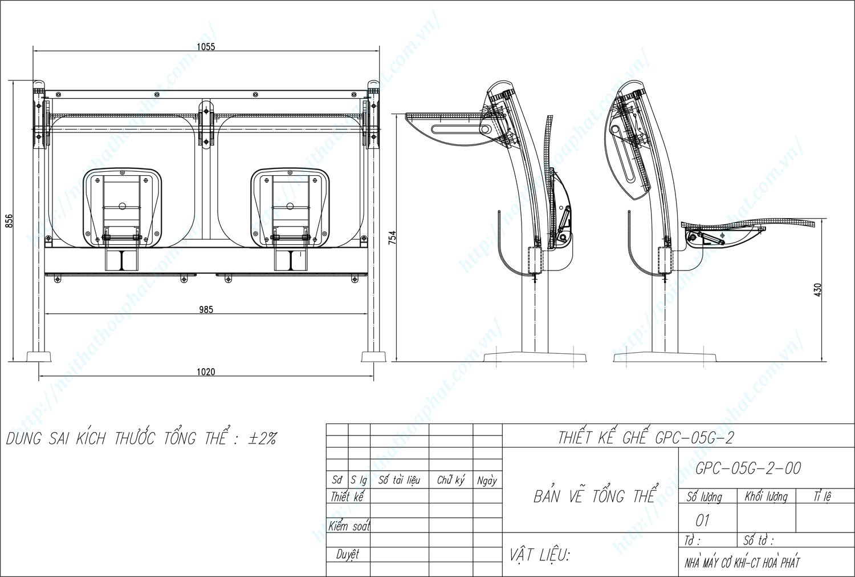 Bản vẽ kỹ thuật ghế phòng chờ GPC05G-2