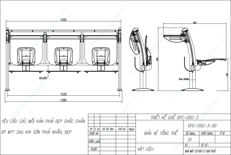 Bản vẽ kỹ thuật ghế phòng chờ GPC05G-3