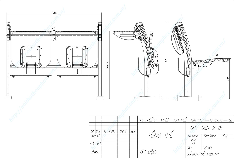 Bản vẽ kỹ thuật ghế phòng chờ GPC05N