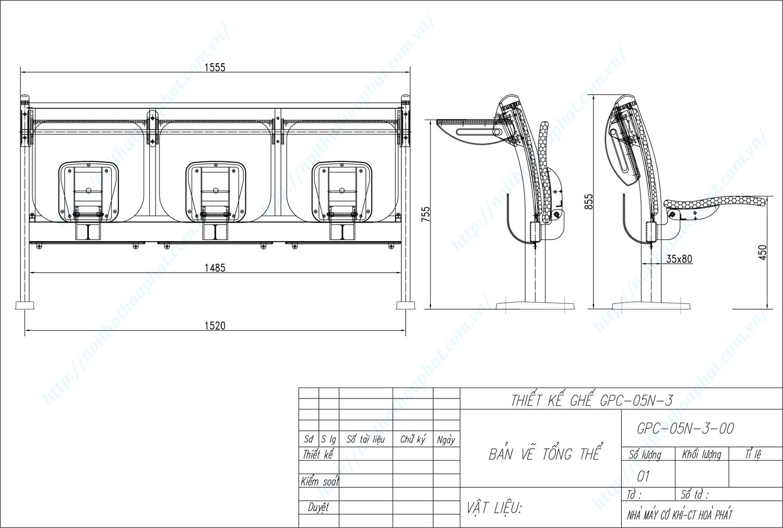 Bản vẽ kỹ thuật ghế phòng chờ GPC05N-3