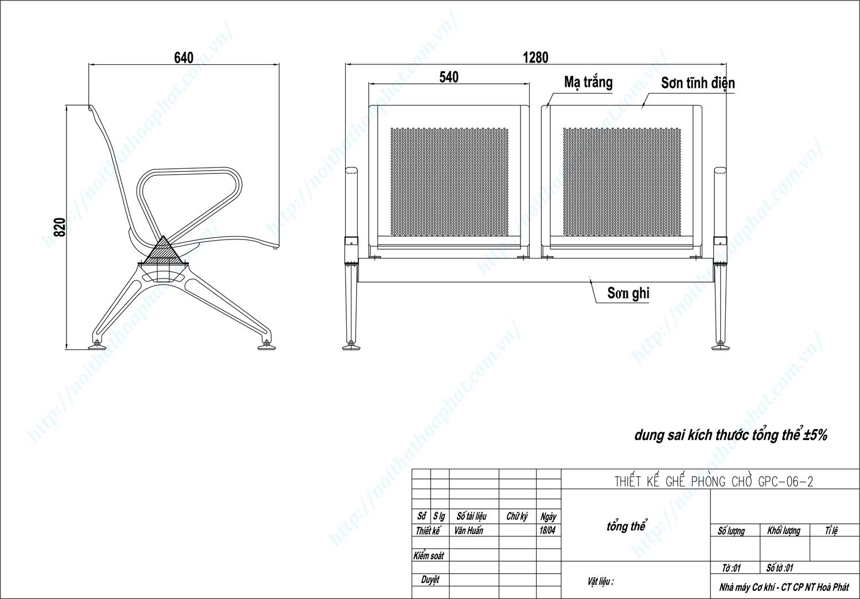 Bản vẽ kỹ thuật ghế phòng chờ 2 chỗ GPC06-2