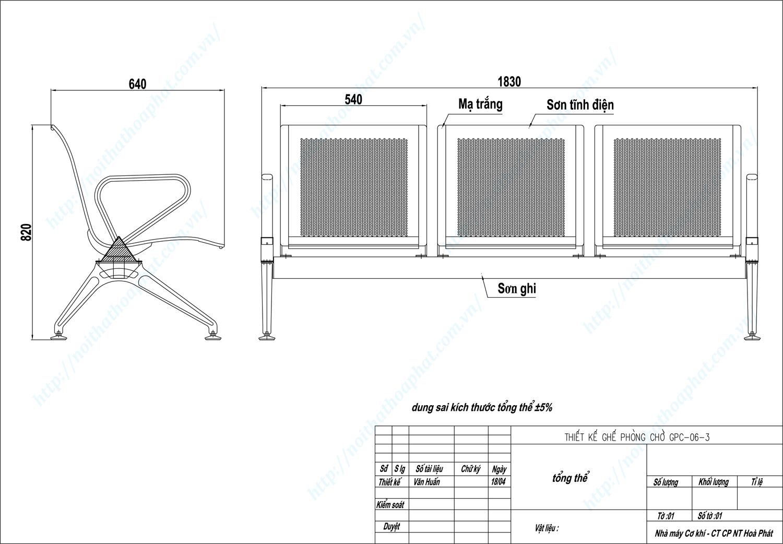 Bản vẽ kỹ thuật ghế phòng chờ 3 chỗ GPC06-3