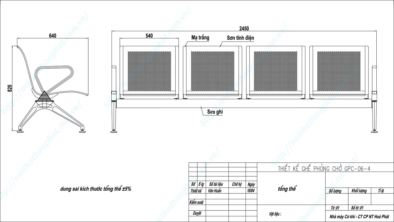 Bản vẽ kỹ thuật ghế phòng chờ 4 chỗ GPC06-4