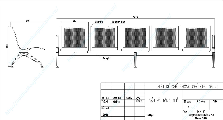 Bản vẽ kỹ thuật ghế phòng chờ 5 chỗ GPC06-5