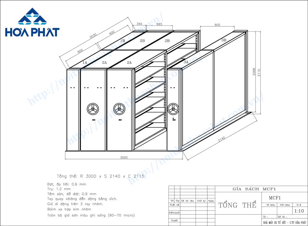 Bản vẽ kỹ thuật tủ hồ sơ di động MCF1
