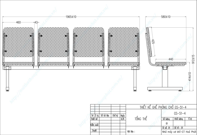 Bản vẽ kỹ thuật ghế phòng chờ PC51-4