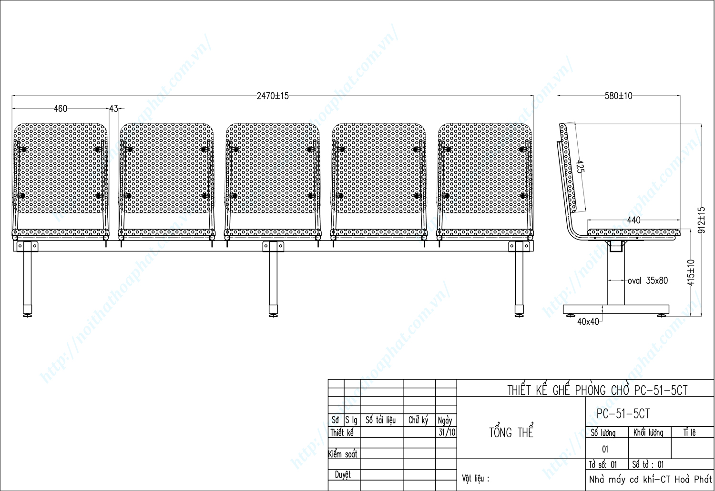 Bản vẽ kỹ thuật ghế phòng chờ PC51-5