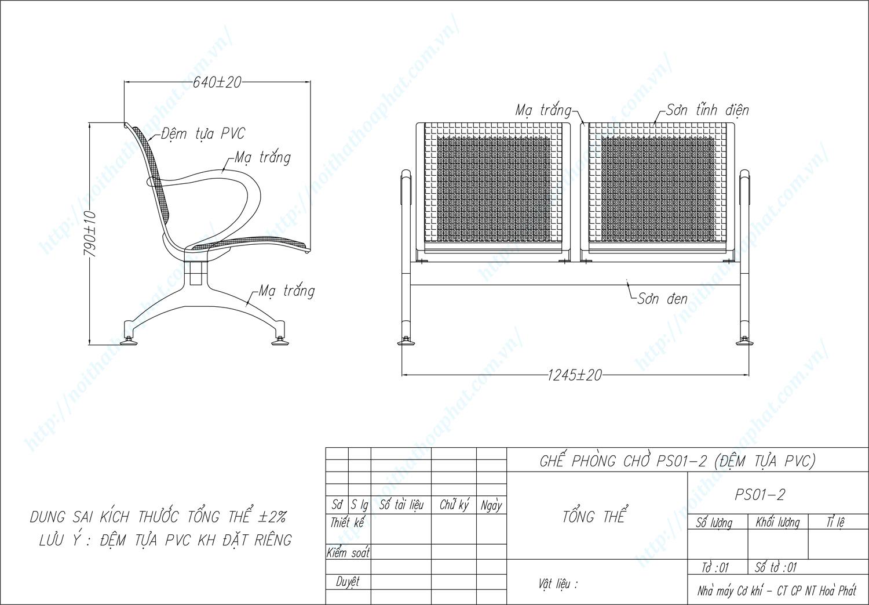 Bản vẽ kỹ thuật ghế phòng chờ 2 chỗ PS01-2