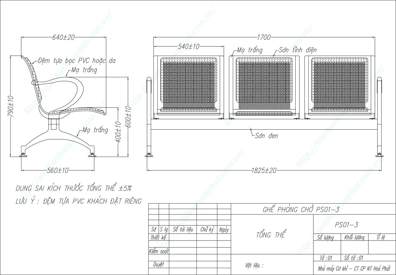Bản vẽ kỹ thuật ghế phòng chờ 3 chỗ PS01-3