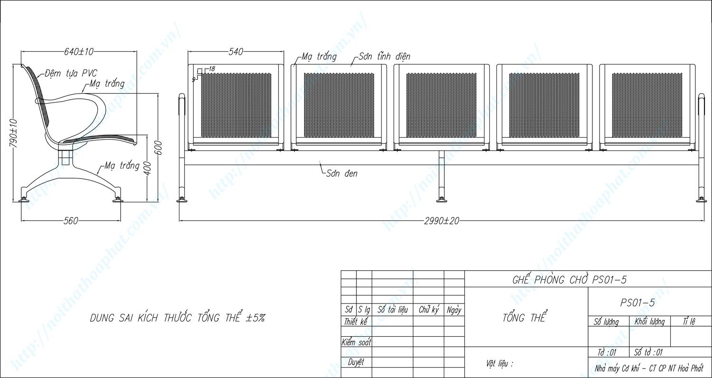Bản vẽ kỹ thuật ghế phòng chờ 5 chỗ PS01-5