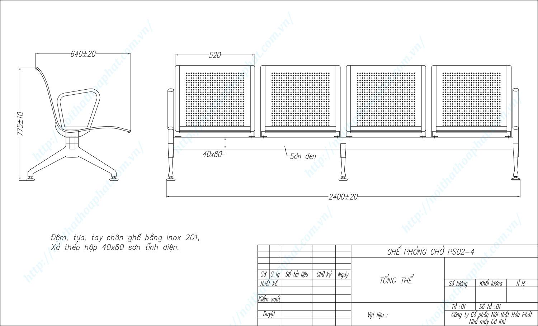 Bản vẽ kỹ thuật ghế phòng chờ Inox 4 chỗ PS02-4