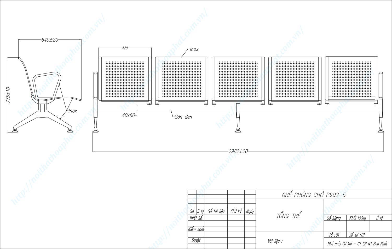 Bản vẽ kỹ thuật ghế phòng chờ Inox 5 chỗ PS02-5