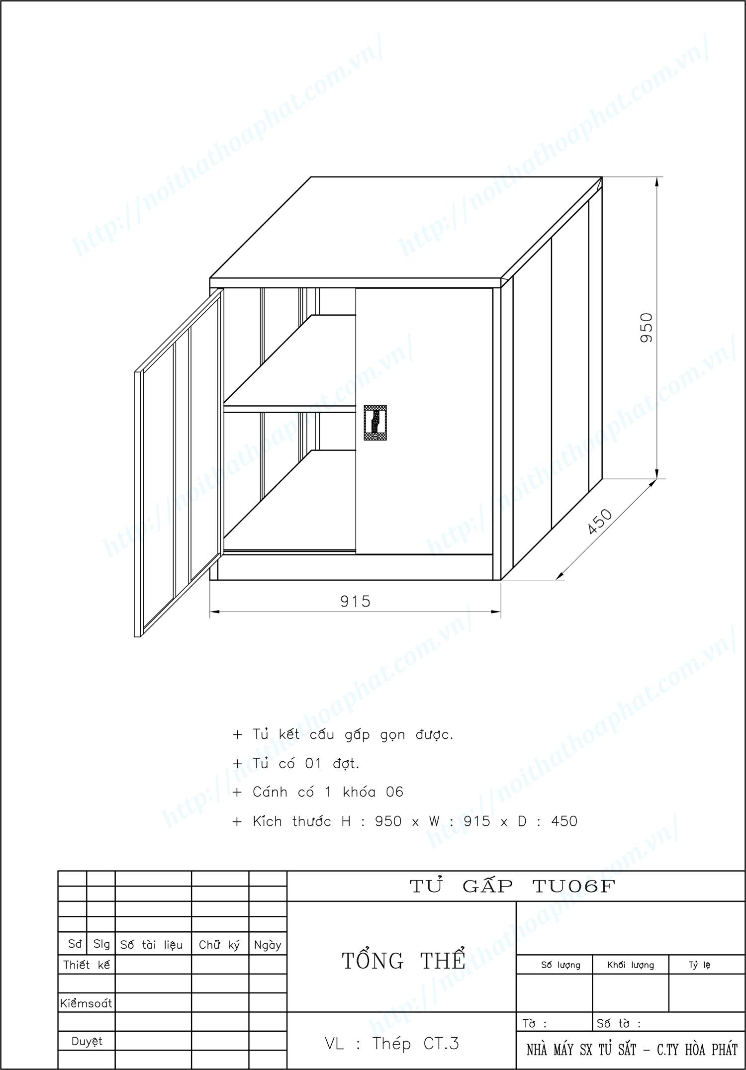 Bản vẽ kỹ thuật thiết kế tủ gấp gọn TU06F