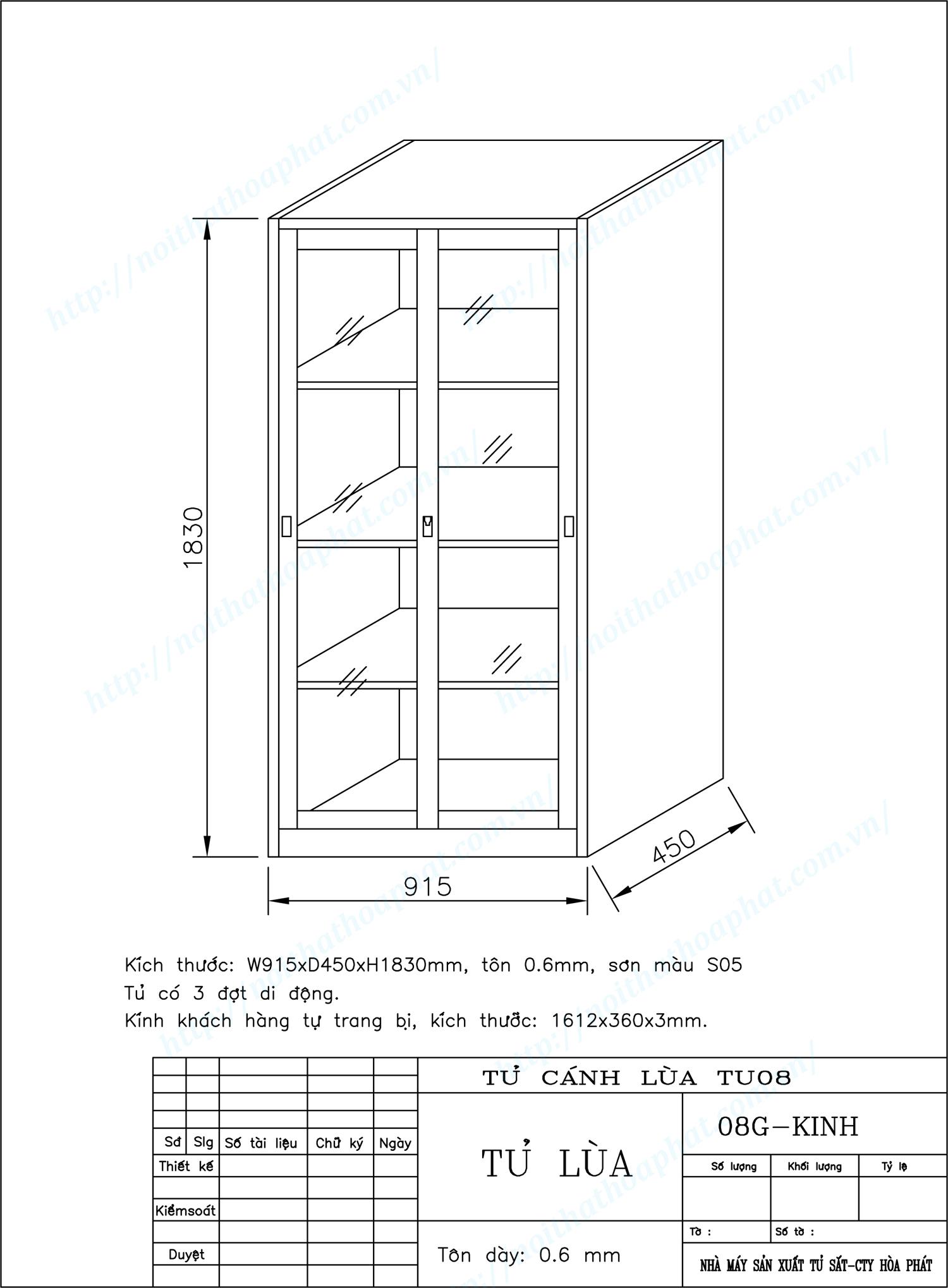 Bản vẽ kỹ thuật thiết kế tủ sắt cánh kính lùa TU08