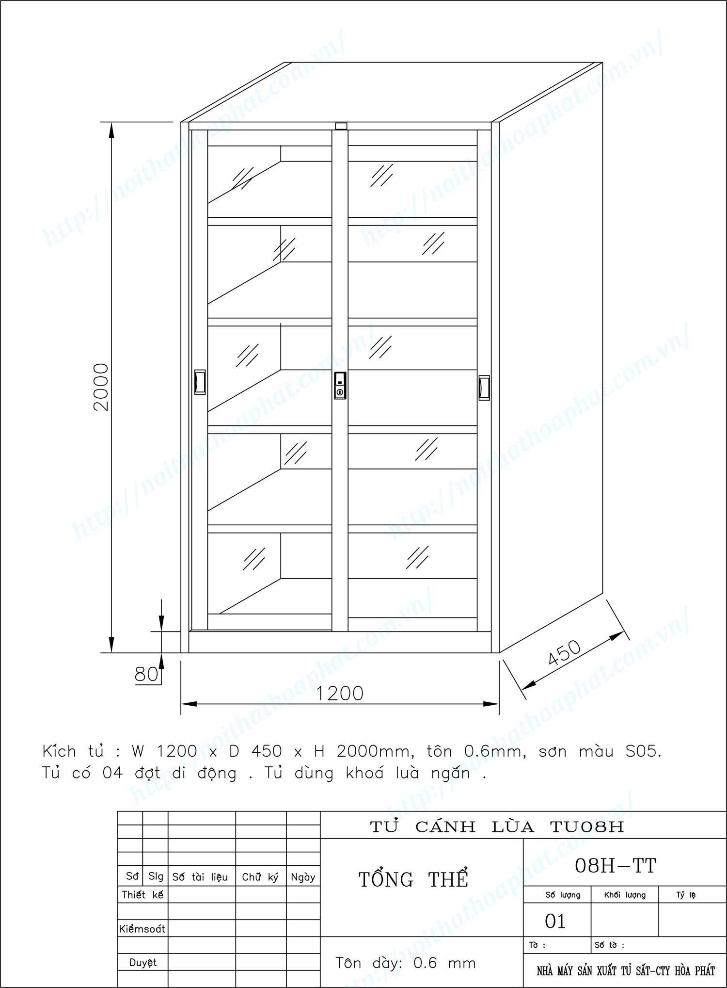 Bản vẽ kỹ thuật thiết kế tủ hồ sơ cánh kính lùa TU08H