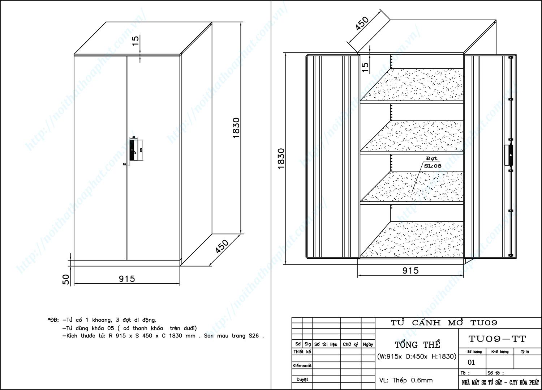 Bản vẽ kỹ thuật thiết kế tủ hồ sơ sắt TU09