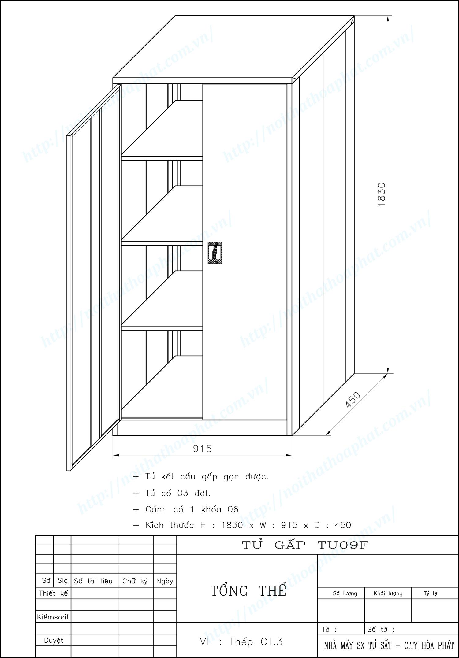 Bản vẽ kỹ thuật thiết kế tủ sắt gấp gọn TU09F