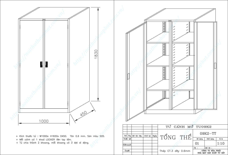 Bản vẽ kỹ thuật thiết kế tủ hồ sơ sắt 2 khoang TU09K2