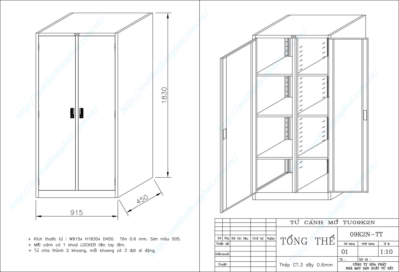 Bản vẽ kỹ thuật thiết kế tủ sắt sơn tĩnh điện TU09K2N