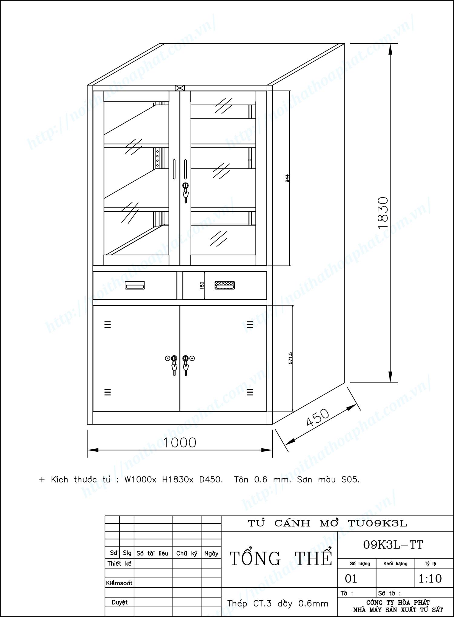 Bản vẽ kỹ thuật thiết kế tủ hồ sơ sắt 3 khoang TU09K3L