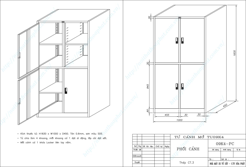 Bản vẽ kỹ thuật thiết kế tủ hồ sơ sắt 4 khoang TU09K4