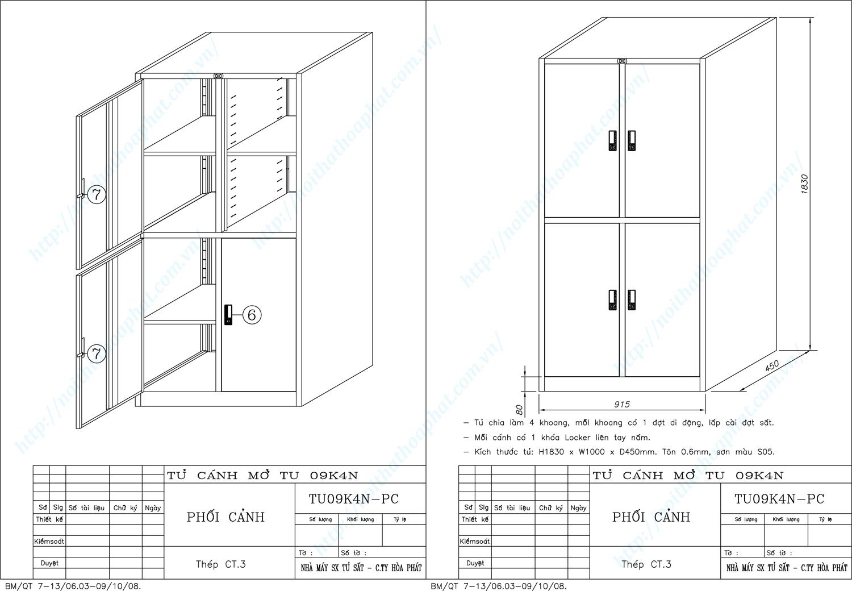 Bản vẽ kỹ thuật thiết kế tủ hồ sơ sắt TU09K4N