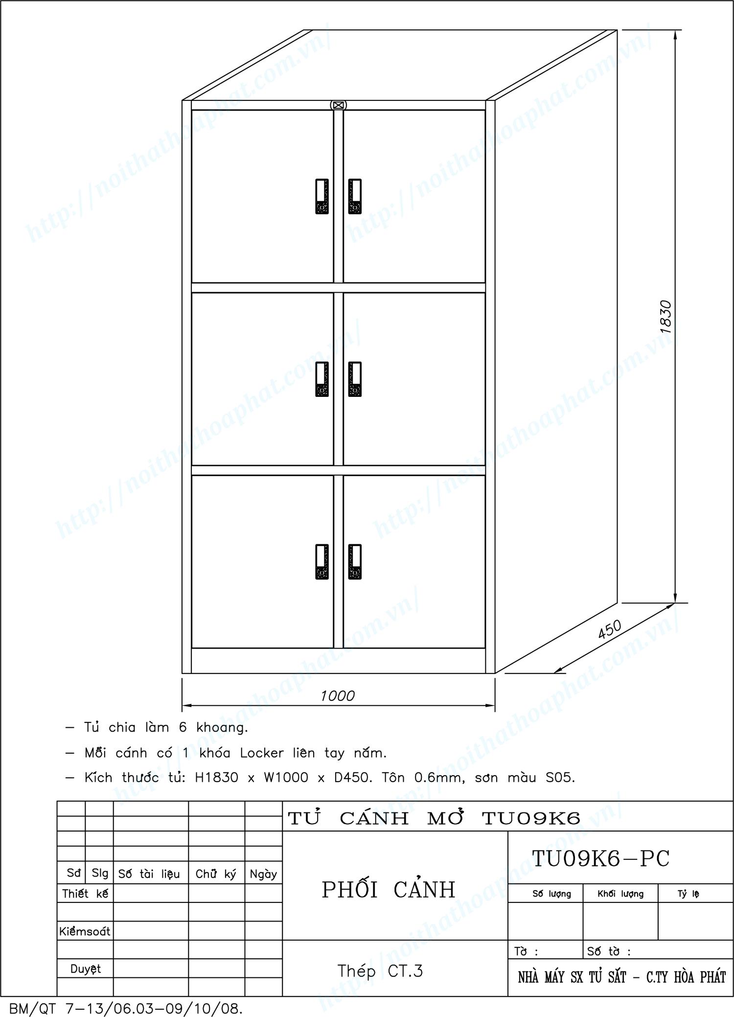Bản vẽ kỹ thuật thiết kế tủ sắt 6 khoang TU09K6