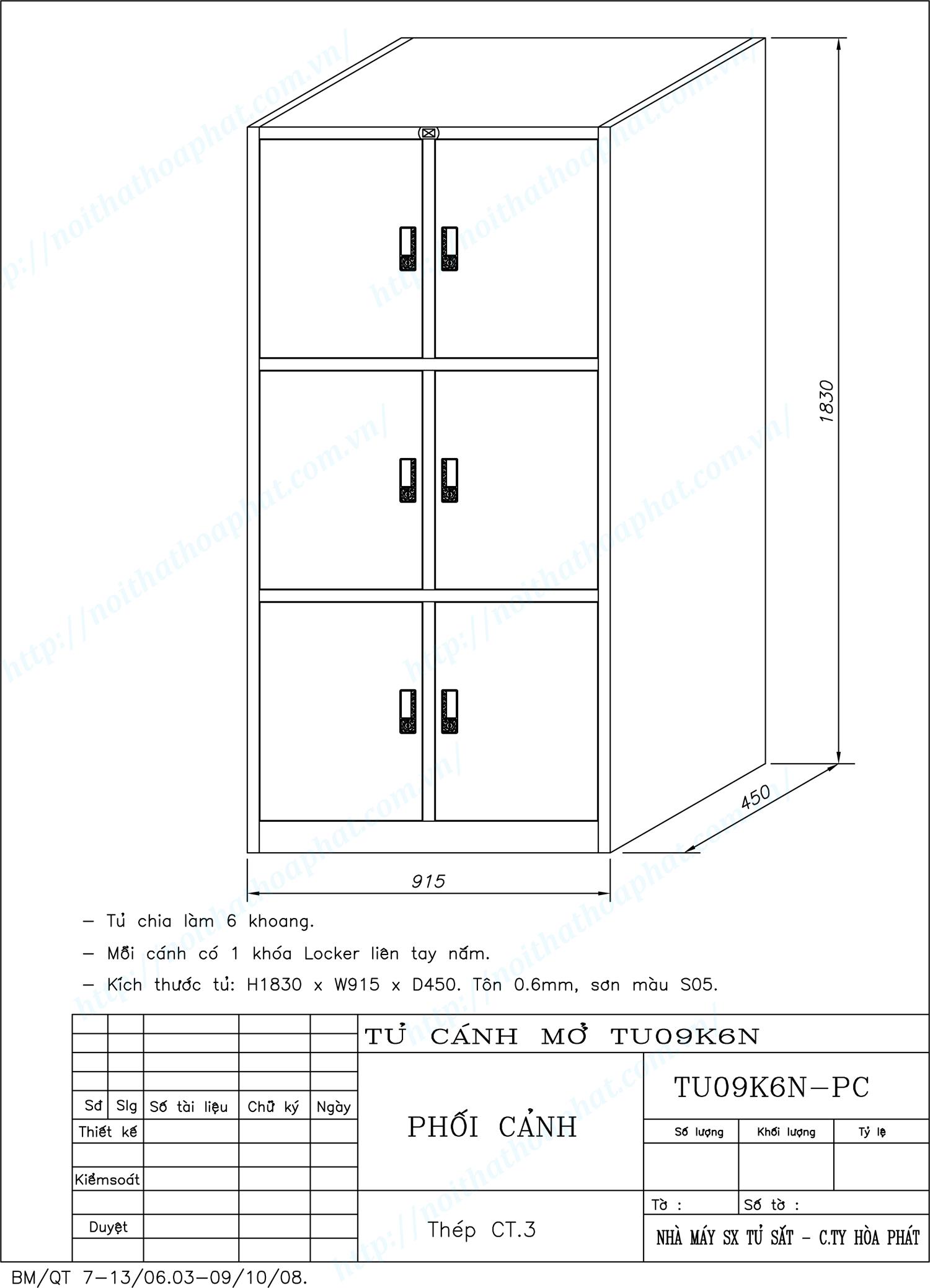 Bản vẽ kỹ thuật thiết kế tủ hồ sơ sắt 6 khoang TU09K6N