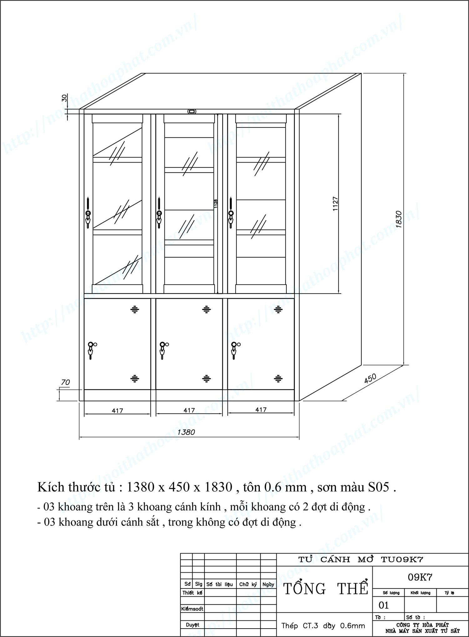 Bản vẽ kỹ thuật thiết kế tủ sắt sơn tĩnh điện 6 khoang TU09K7CK