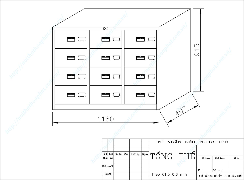 Bản vẽ kỹ thuật thiết kế tủ sắt 12 ngăn kéo TU118-12D