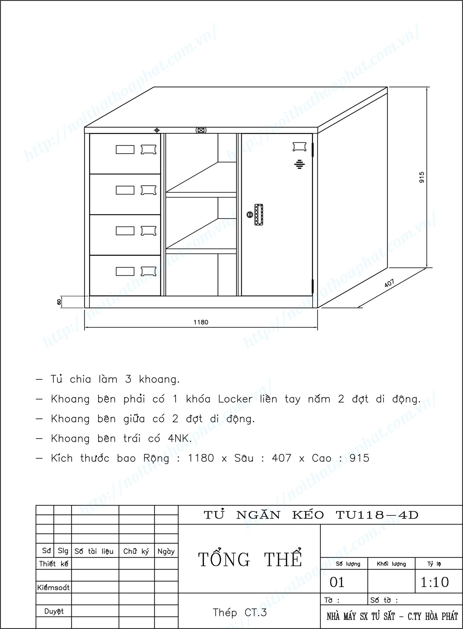 Bản vẽ kỹ thuật thiết kế tủ ngăn kéo 3 khoang TU118-4D