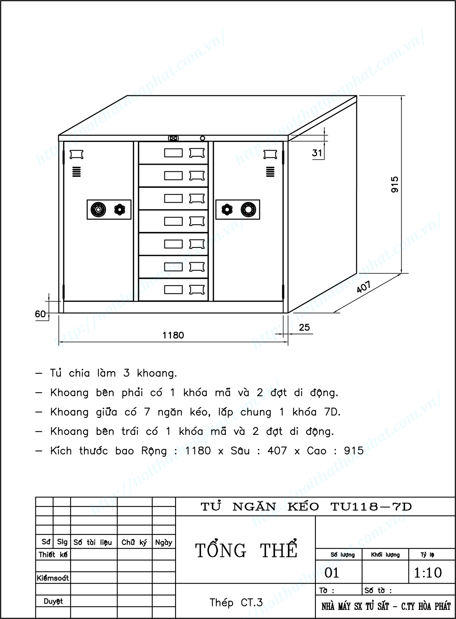 Bản vẽ kỹ thuật thiết kế tủ 7 ngăn kéo 3 khoang TU118-7D