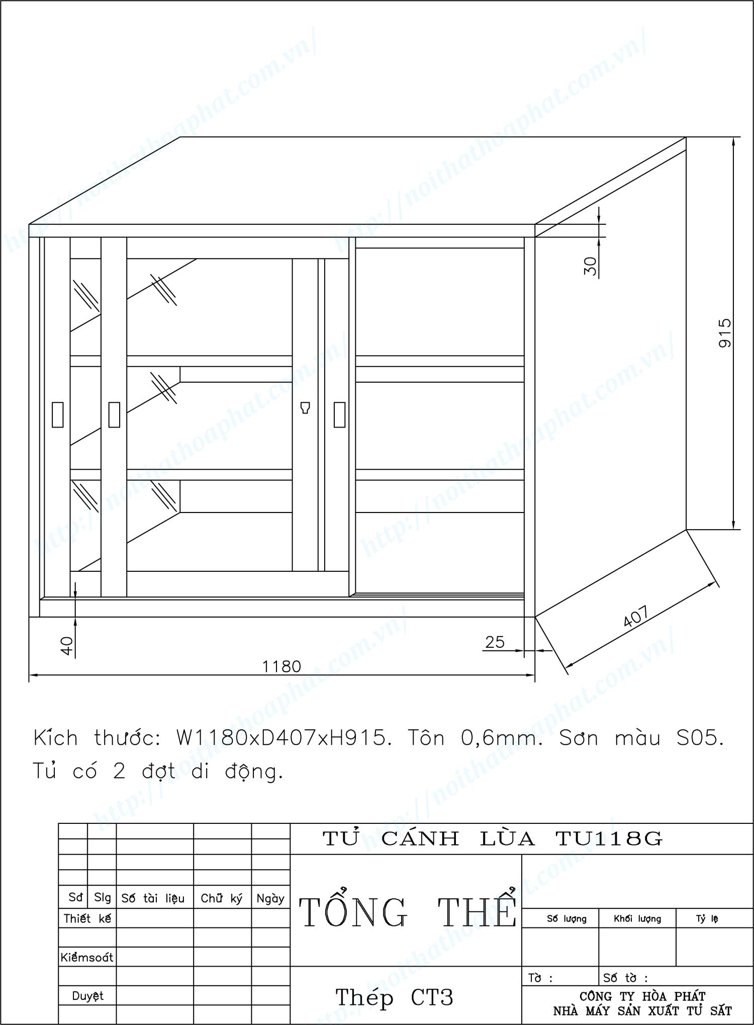 Bản vẽ kỹ thuật thiết kế tủ tài liệu cánh lùa TU118GCK