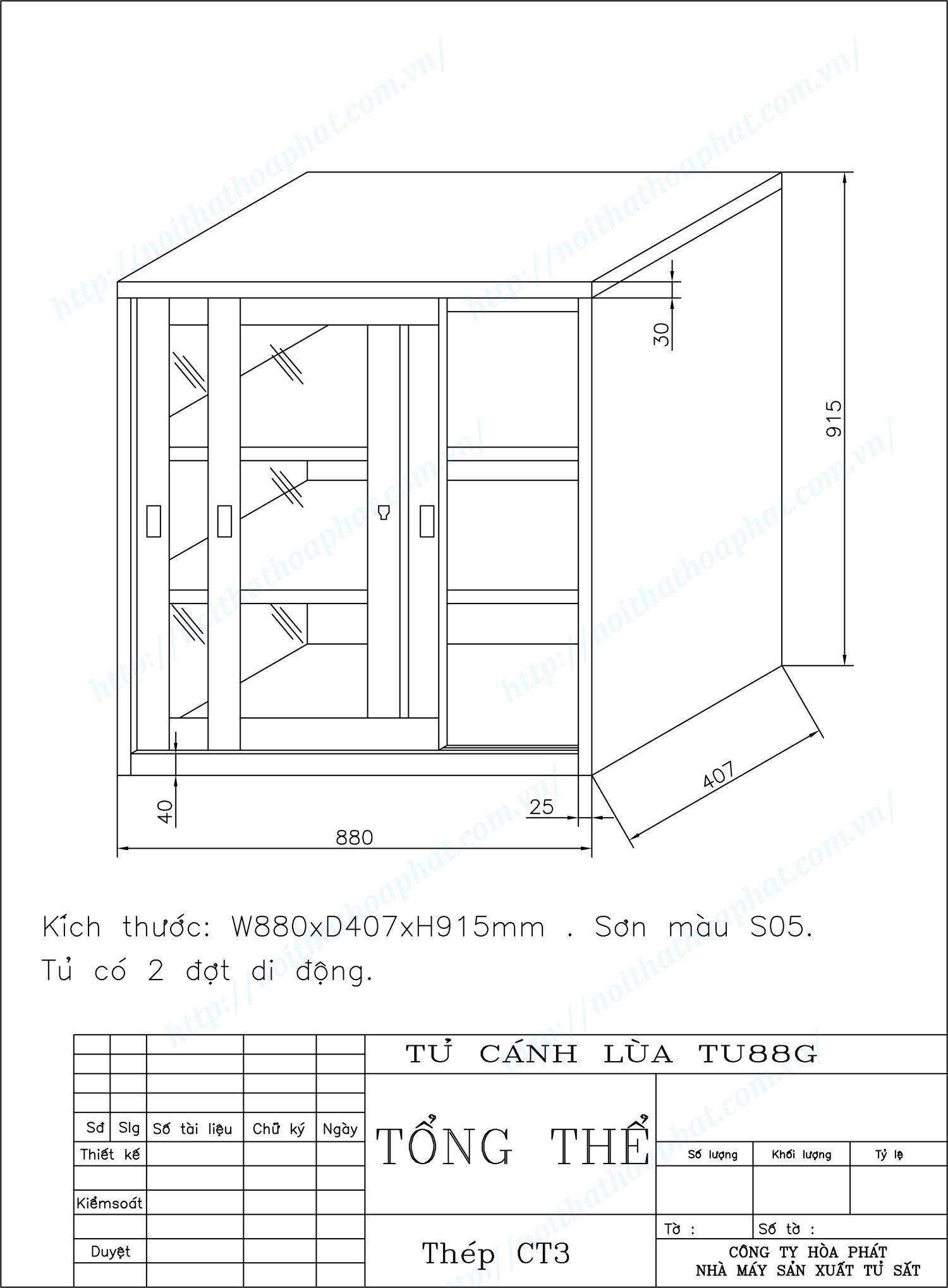 Bản vẽ kỹ thuật thiết kế tủ sắt cánh lùa TU88GCK