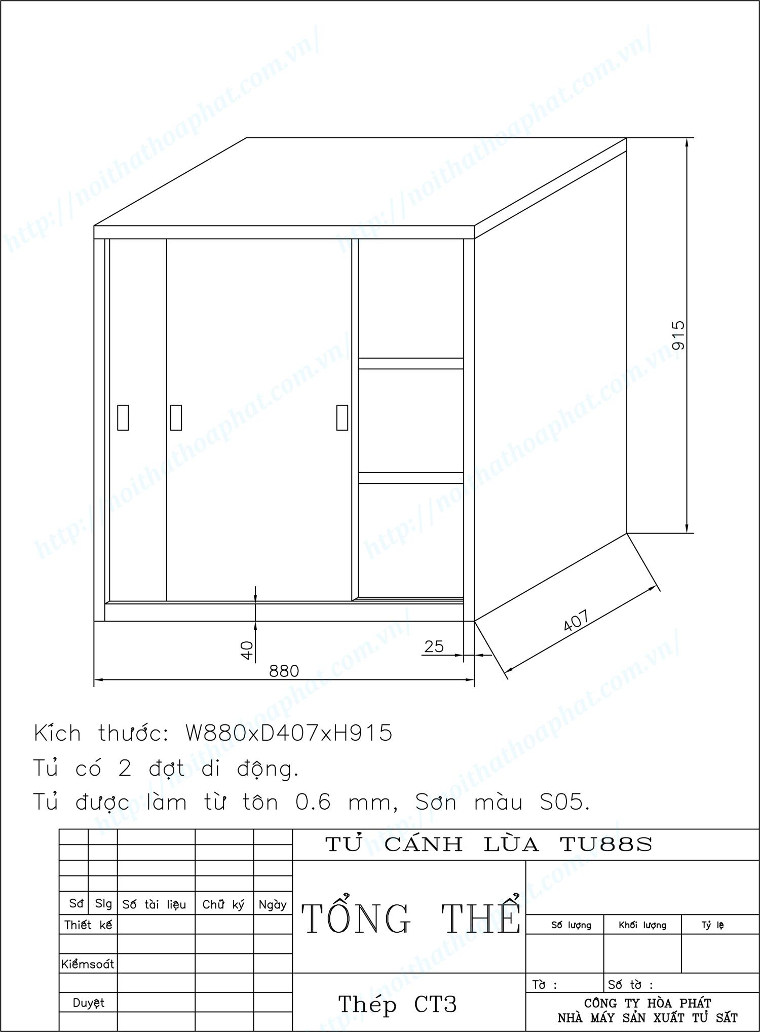Bản vẽ kỹ thuật thiết kế tủ hồ sơ cánh lùa TU88S