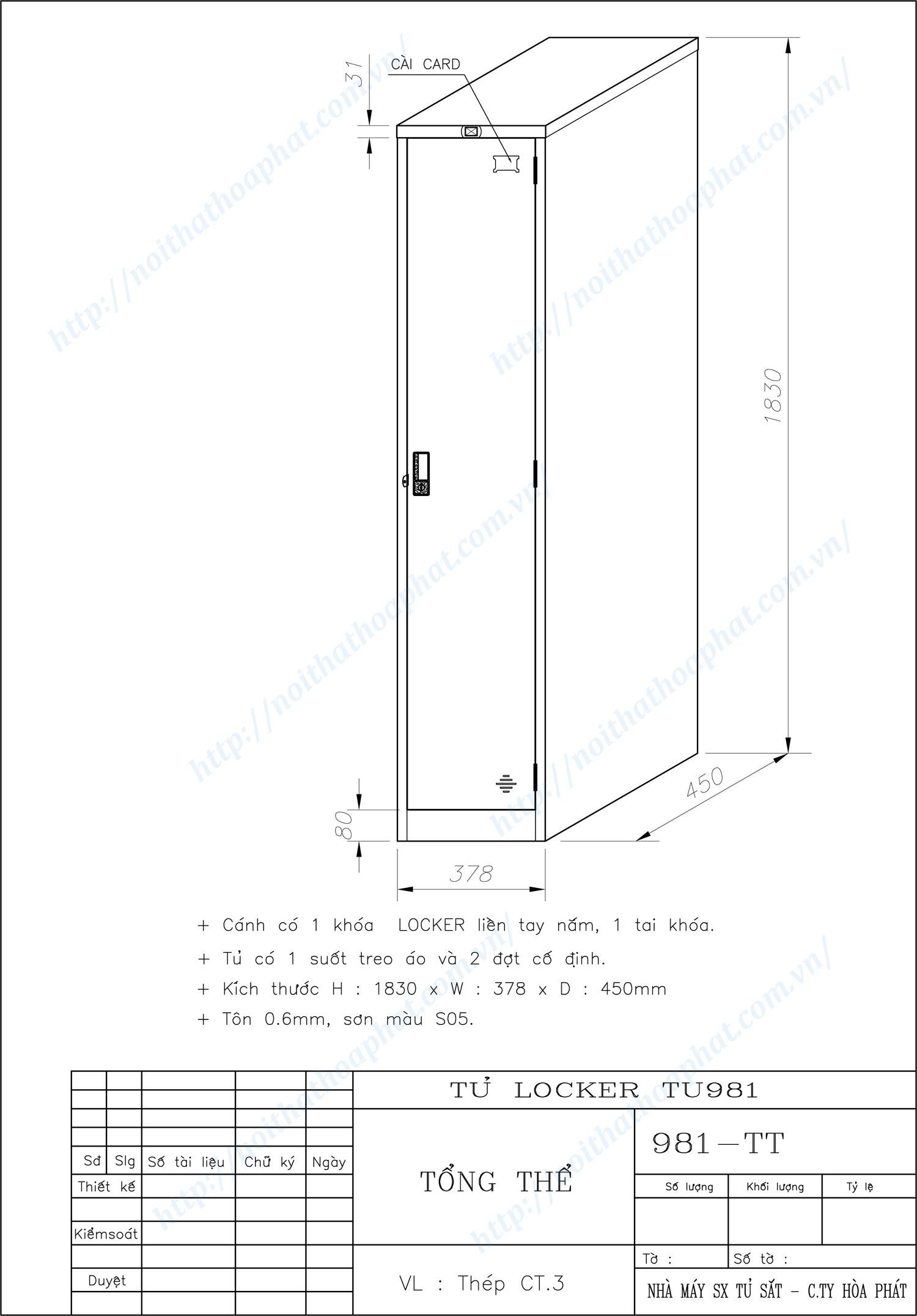 Bản vẽ kỹ thuật tủ locker 1 ngăn TU981