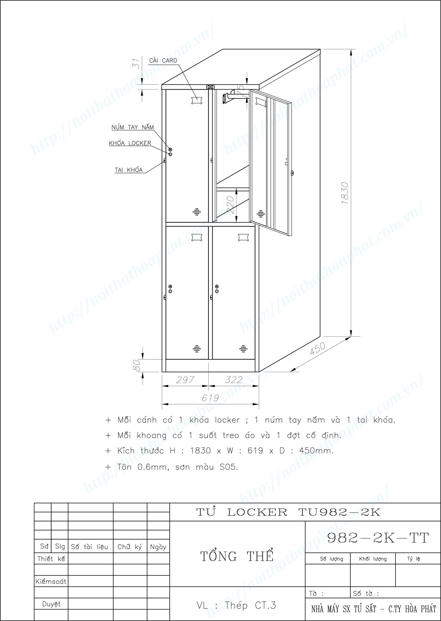 Bản vẽ kỹ thuật tủ locker 4 ngăn TU982-2K