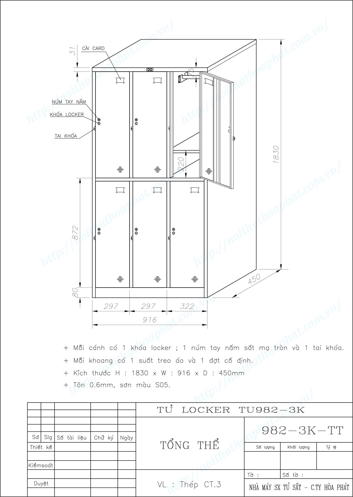 Bản vẽ kỹ thuật tủ locker 6 ngăn TU982-3K